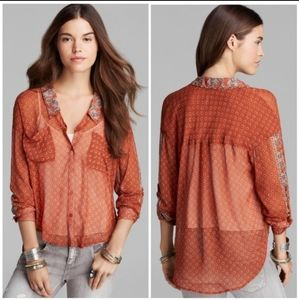 Free people easy rider burnt orange button sheer